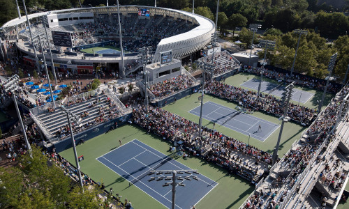 An overview of the tennis action at the Greenbrier resort in West Virginia.
